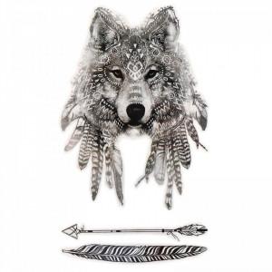 Tatuaj temporar, Lupul Indian, GF820, 16.5 x 9 cm