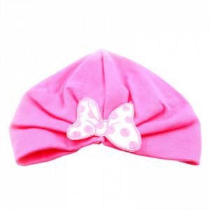 Turban pentru fetite, cu fundita, +12 luni, Roz inchis