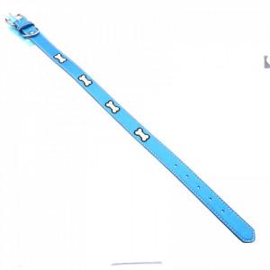 Zgarda din piele pentru caini, cu imprimeu os, reflectorizant, 56 x 2.5 cm, Albastru