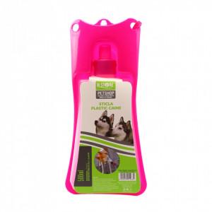 Adapatoare animale portabila, bol plastic, sistem antivarsare, Roz inchis, 500ml