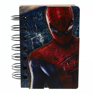 Agenda cu spirala, din lemn, Spider Man, 10 x 7 cm