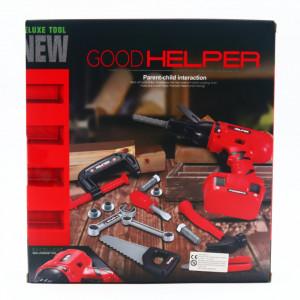 Bormasina de jucarie cu baterii, GoodHelper, suruburi si unelte incluse, Generatia 2, Rosu