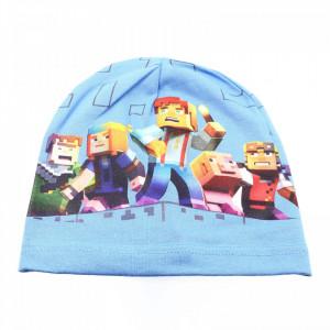 Caciula pentru baieti, cu imprimeu Minecraft, Bleu