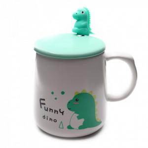 Cana cu capac si lingurita, ceramica, Dinozaur Verde