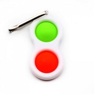 Jucarie antistres, Pop it, tip breloc, Portocaliu / Verde, 8 cm