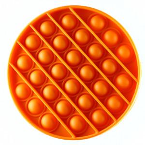 Jucarie Pop it now, Push Bubble, din silicon, antistres, forma cerc, Portocaliu