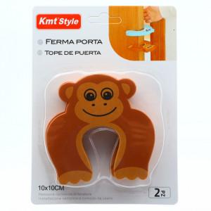 Opritor de usa pentru protectie copii, 10 x 10 cm, model maimuta, Maro