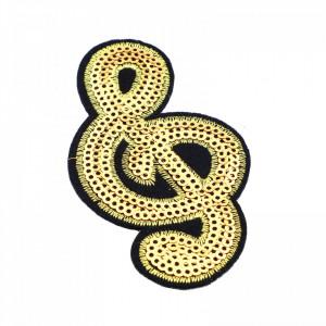 Petic textil / patch brodat, Cheia Sol, 8.5 x 5 cm, Auriu