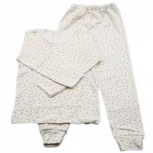 Pijamale copii, Model Alb cu punctulete galben maro, Model Romanesc, Bumbac, 3 - 4 ani, P34P12