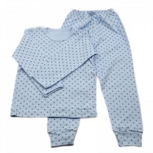 Pijamale copii, Model bleu cu punctulete negre, Model Romanesc, Bumbac, 5 - 6 ani, P56P2