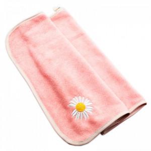 Prosop de bucatarie, absorbant, din microfibra, cu brodaj musetel, 75 x 36 cm, Roz