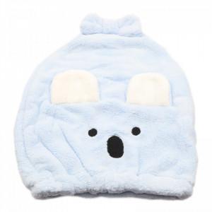 Prosop pentru uscat parul, de copii, tip caciulita, model ursulet, 37 x 30 cm, Bleu