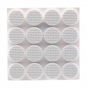 Set 16 bucati, Protectie Antialunecare pentru mobila cu adeziv, rotund, 2x2 cm, Alb