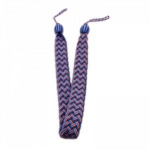 Set 2 buc, Accesorii strangere perdea si draperie, model cordon plat, 98 x 4 cm, Albastru cu mov