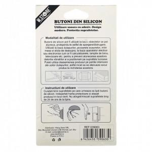 Set 2 bucati opritor pentru usi de interior, cu banda adeziva, alb, 4 cm