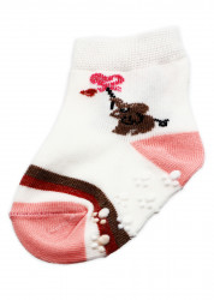 Set 2 bucati, Sosete pentru copii, antiderapante, cu imprimeu elefant si inima, 0-12 luni, Alb cu roz