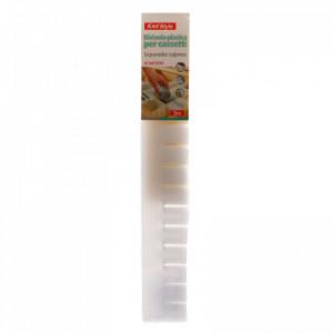 Set 3 buc, Separator / organizator din plastic pentru sertare, 42.3x6.5 cm, Alb