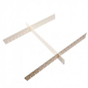 Set 3 buc, Separator / organizator din plastic pentru sertare, 43.5 x 5 cm, Alb