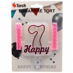 Set 4 buc, Lumanare aniversara,cu suport in forma de Cifra 7, pentru tort, Roz