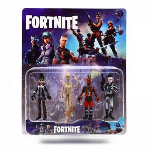 Set 4 figurine tip Fortnite, 1 arma inclusa, Batalia neinfricatilor, marime 9 cm