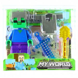 Set 4 piese, Figurina si accesorii, Tip Minecraft Creeper, Verde
