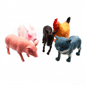 Set 5 Animale de curte, Pisica, Iepure, Gaina, Porc, Magar