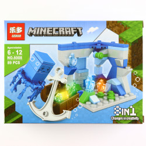 Set de constructie, tip Minecraft, Cufarul cu ancora si meduza Faimoasa , 89 piese