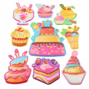 Set Sticker 3D pentru copii, Prajituri, decor camera, 9 piese, JJ-FD005, Multicolor