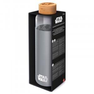 Sticla Star Wars cu invelis de silicon si capac din bambus, 585 ml