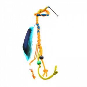 Suvite colorate impletite cu pana albastru si margele, 42 cm