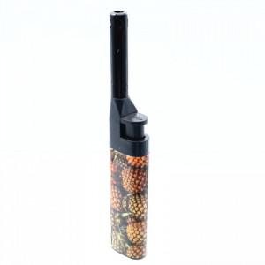 Aprinzator pentru aragaz, cu buton reglare flacara, reincarcabil, tip bricheta, imprimeu ananas, 14.5 cm