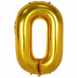 Balon din folie metalizata, 80 cm, cifra 0, Auriu