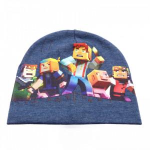 Caciula pentru baieti, cu imprimeu Minecraft, Albastru