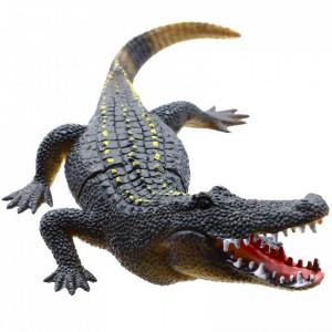Figurina Reptila, Crocodil, Negru, 24 cm