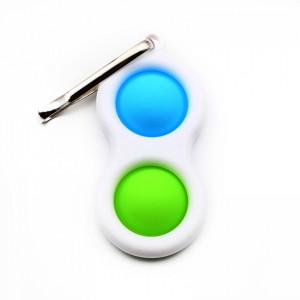 Jucarie antistres, Pop it, tip breloc, Albastru / Verde, 8 cm