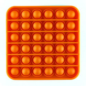 Jucarie Pop it now, Push Bubble, din silicon, antistres, forma patrat, Portocaliu