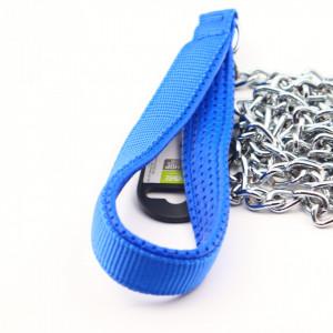 Lesa cu lant pentru caine de talie mare, Albastru, 130 cm