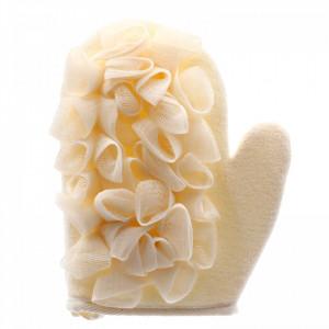 Manusa de baie cu banda exfolianta, pentru piele sensibila, 21 x 17 cm, Bej