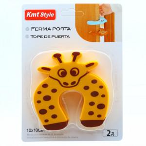 Opritor de usa pentru protectie copii, 10 x 10 cm, model girafa, Maro cu galben