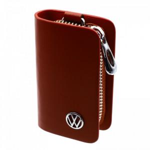 Portofel pentru cheie auto, sigla Volkswagen, tip breloc, piele, cu fermoar, 10 x 6 x 2.5 cm, Maro