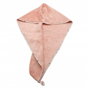 Prosop pentru uscat parul, cu un nasture pentru fixare, pentru adulti, model floral, 65 x 26 cm, Roz pudra