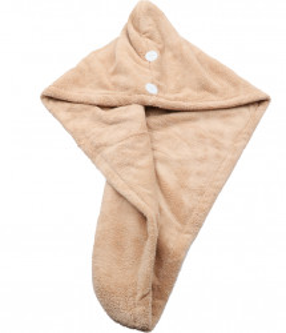 Prosop pentru uscat parul, dublu material, cu un nasture pentru fixare, pentru adulti, 65 x 26 cm, Bej