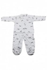 Salopeta bebe cu botosi, Imprimeu alb cu fundite negre, 0 - 3 luni, SB03SB15