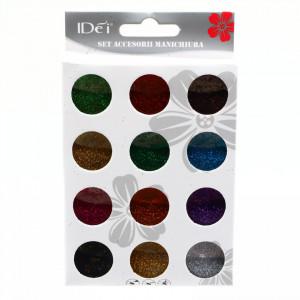 Set 12 bucati, Sclipici pentru unghii, Multicolor