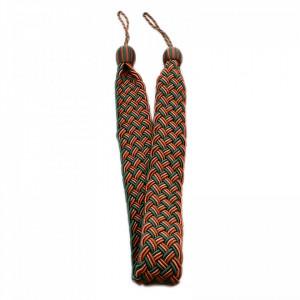 Set 2 buc, Accesorii strangere perdea si draperie, model cordon plat, 105 x 5 cm, Verde cu maro
