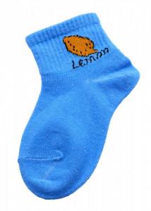 Set 2 bucati, Sosete pentru copii, cu imprimeu Lemon, 1-2 ani, Albastru