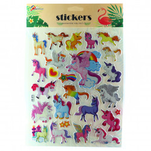 Set 25 abtibilduri Unicorn, pentru copii, multicolor