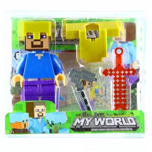 Set 4 piese, Figurina si accesorii, Tip Minecraft, Albastru