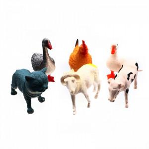 Set 6 Animale de curte, Pisica, Gaina, Rata, Gasca, Oaie, Vaca