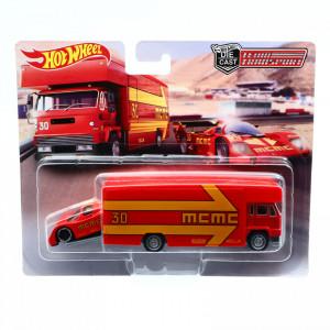 Set jucarie 2 buc, Tir cu masinuta, Hot Wheels, Rosu